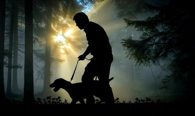 A man and a dog standing in the dark
